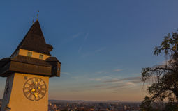 The clock tower. Of Graz, Austria Royalty Free Stock Photography