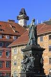 Clock tower in Graz. The Clock-tower (Uhrturm) in Graz, Austria Stock Photos