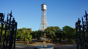 Clock tower of Gustave Eiffel in the park of Monte Cris. Clock tower made by Gustave Eiffel in the main park of Monte Cristi in the Dominican Republic, seen with Royalty Free Stock Image