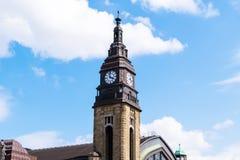 Clock tower of Hamburg main railway station. Stock Images