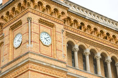 Clock tower of the Hannover central station Stock Images