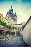 Clock Tower of Historic Centre of Sighisoara Royalty Free Stock Photo