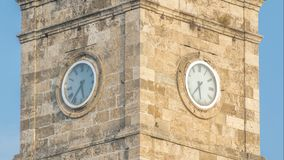 Clock tower in the Historic part of Antalya Kaleici timelapse, Turkey. Old town of Antalya is a popular destination. Clock tower in the Historic part of Antalya stock footage