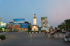 Clock Tower Intersection at Lampang. Lampang, Thailand - April 18 2015: A wide shot of the clock tower intersection at a centre area of Lampang Stock Image