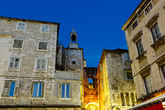 Clock Tower and Iron Gate in Split at Night Stock Photos