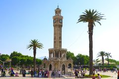 Clock Tower in Izmir, Turkey. Izmir, Turkey - June 27, 2016: The tower is built in the Ottoman architectural style and the square that it sits on is a popular Stock Photography