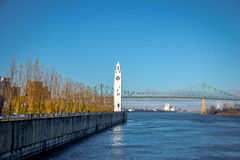 Clock Tower and Jacques Cartier Bridge at Old Port - Montreal, Quebec, Canada Stock Images