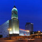 The clock tower in Krasnoyarsk, Russia Royalty Free Stock Photos