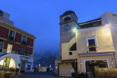 The clock tower at La Piazzetta in Capri in Italy Royalty Free Stock Photography