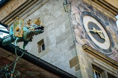 Clock tower in Lausanne. On Place de la Palud royalty free stock image
