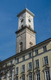 The clock tower of the Lviv city hall. 2015 Royalty Free Stock Photo