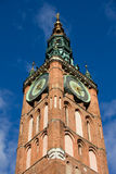 Clock Tower of Main Town Hall in Gdansk Stock Image