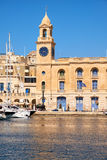 The clock tower of Malta Maritime Museum. Royalty Free Stock Images