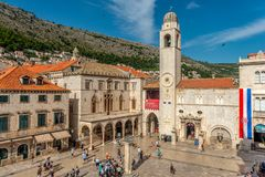 Clock tower on the market square in Dubrovnik stock images