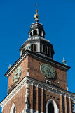 Clock Tower. The clock tower at the Market square in Stare Miasto, Krakow, Poland stock image