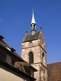 Clock tower of Martinskirche, Basel. Stock Photos