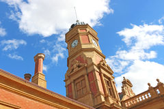 The clock tower of the Maryborough Railway Station was erected in 1890 although the station has been in operation since 1874 Stock Photography