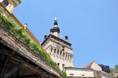 Clock tower. The medieval city, Sighisoara, the Clock Tower Stock Photos