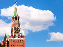 Clock tower of Moscow Kremlin and white cloud Stock Photography