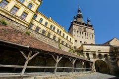 Clock Tower from Sighisoara city, Transylvania, Mures county, Romania Royalty Free Stock Photos