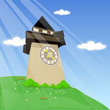 Clock tower. On the mountains and blue sky Stock Image
