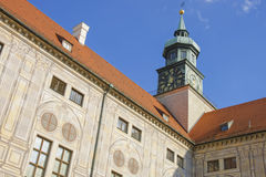 Clock tower in Munich in front of blue sky Royalty Free Stock Image