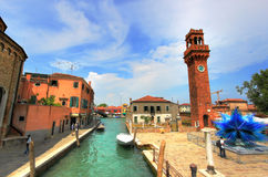 Clock tower in Murano, Italy. Clock tower in the main square of the city Murano, Italy Royalty Free Stock Image