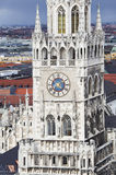 The clock tower of the new town hall in Munich Stock Photos