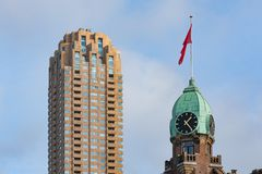 Clock tower on the New York Hotel Rotterdam Royalty Free Stock Photos