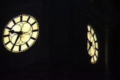 Illuminated Clock Tower, City Hall, Philadelphia stock photos
