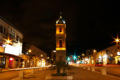 Clock tower at night stock photos