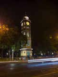 Clock tower at night. Clock tower in downtown Guayaquil, on the boardwalk, at night Stock Photo