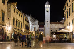 Clock tower at night. Dubrovnik. Croatia Royalty Free Stock Image