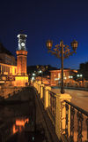 Clock tower night scene in Amasya, Turkey Royalty Free Stock Images