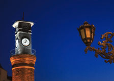 Clock tower night scene in Amasya, Turkey Stock Image
