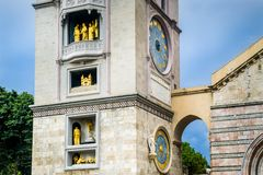 Clock tower od Messina duomo Stock Photos