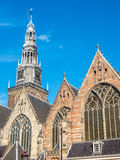 Clock tower of Old church in Amsterdam Royalty Free Stock Images