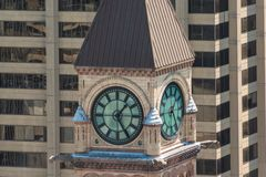 Clock tower in Old City Hall in Toronto Royalty Free Stock Images
