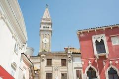 Clock tower in old city of Rovinj, Croatia Royalty Free Stock Photo