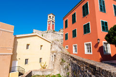 The clock tower at the Old Fortress of Corfu. Greece. Royalty Free Stock Image