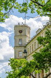 The clock tower of the old Palace in Gatchina Park Stock Image