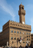 The clock tower of the Old Palace.Signoria Square, Florence Stock Image