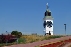 Clock tower. Old clock tower on Petrovaradin fortress Royalty Free Stock Photography