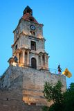 Clock tower of old rodes. The clock tower of old rodes, Rhodes island, Greece stock photography