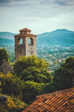 The clock tower of Old Town Bar, Montenegro. Ancient ruin fortress. World Heritage Site by UNESCO - Properties submitted royalty free stock image