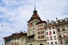 Clock tower in old town of Bern, Switzerland royalty free stock photo