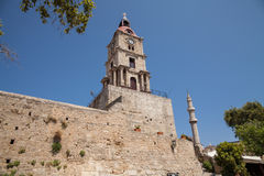 Clock tower in the Old Town of the capital of the island of Rhod royalty free stock photography