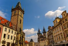 The Clock Tower with The Old Town Square and Our Lady Before Tyn in the background, Prague, Czech Republic Stock Photography