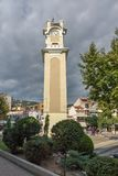 Clock tower in old town of Xanthi, East Macedonia and Thrace, Greece. XANTHI, GREECE - SEPTEMBER 23, 2017: Clock tower in old town of Xanthi, East Macedonia and stock photo