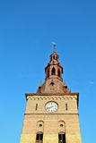 Clock tower in Oslo, Norway. Clock tower with blue sky Stock Photo